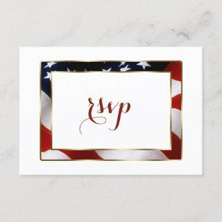 Patriotic, Elegant USA Flag Gold Wedding RSVP