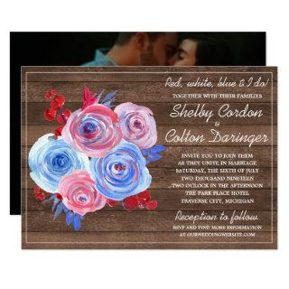 Patriotic Floral Fourth of July Photo Wedding Invitations
