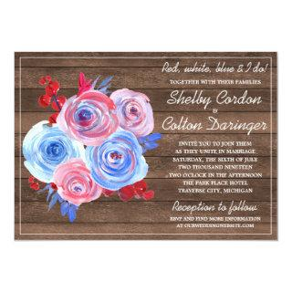 Patriotic Floral Fourth of July Rustic Wedding Invitation
