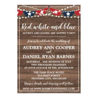 Patriotic Lights Fourth of July Banner Wedding Invitations