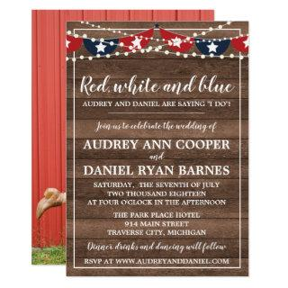 Patriotic Lights Fourth of July Photo Wedding Invitations