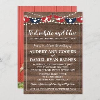 Patriotic Lights Fourth of July Photo Wedding Invitation
