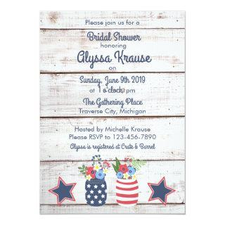Patriotic Love II Rustic 4th of July Bridal Shower Invitation