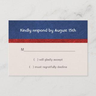 Patriotic Military Red White and Blue Wedding RSVP