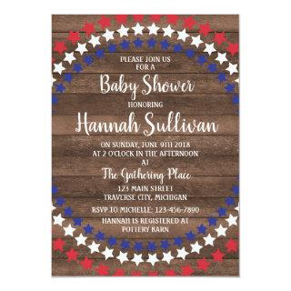 Patriotic Stars Rustic 4th of July Baby Shower Invitation