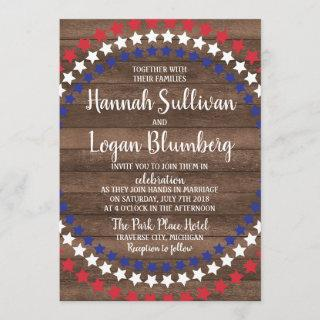 Patriotic Stars  Rustic Fourth of July Wedding Invitations