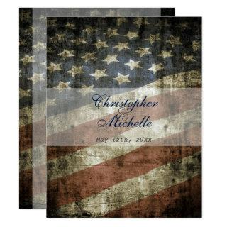 Patriotic US American Flag Vintage Wedding Invitation
