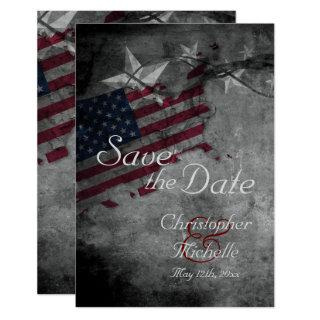 Patriotic US Flag and Stars Wedding Save the Date Invitations