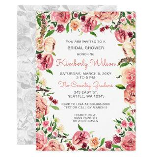 Peach and Coral Flowers Floral Bridal Shower Invitations