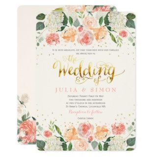 Peach and Cream Floral Summer Wedding Invitations