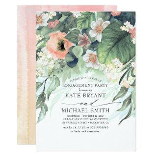 Peach and Pink Floral Vintage Engagement Party Invitation
