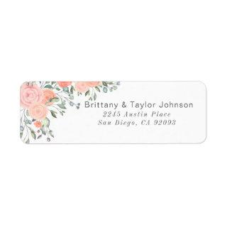Peach and Pink Floral Wedding Label