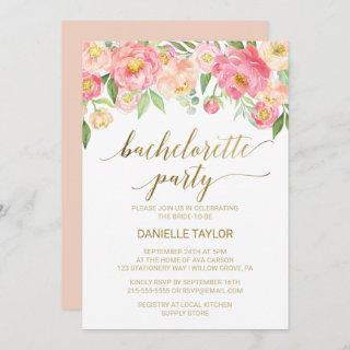 Peach and Pink Peony Flowers Bachelorette Party Invitations