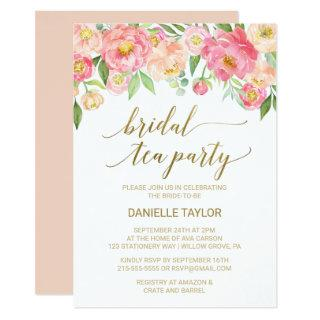 Peach and Pink Peony Flowers Bridal Tea Party Invitation
