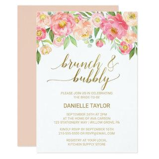 Peach and Pink Peony Flowers Brunch and Bubbly Invitations