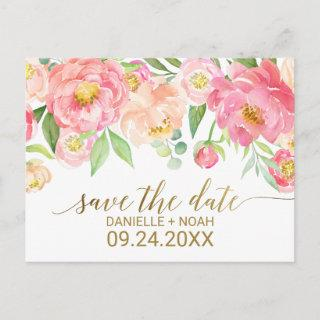 Peach and Pink Peony Flowers Wedding Save the Date Announcement Postcard