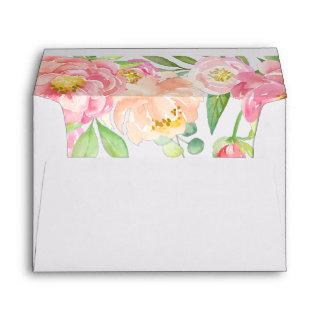 Peach and Pink Peony Lined Wedding Invitation Envelope