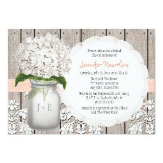 Peach and White Hydrangea Mason Jar Bridal Shower Invitations