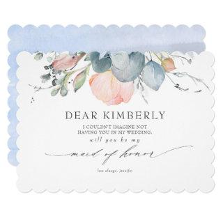 Peach Blossoms Dusty Blue Be My Maid of Honor Invitation