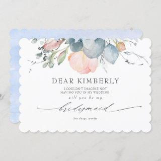 Peach Blossoms Dusty Blue My Bridesmaid Proposal Invitations