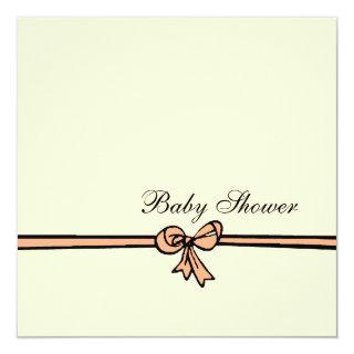 Peach Bow-Baby Shower Invitations