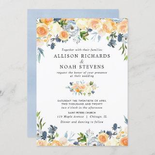 Peach coral and blue floral watercolor wedding Invitations