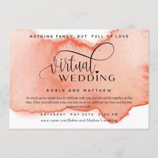 Peach Coral Watercolor,  Online Virtual Wedding Invitation