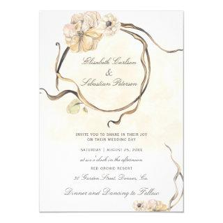 Peach cream watercolor wreath elegant wedding invitation