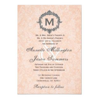 Peach Damask Silver Vintage Monogram Wedding Invitations