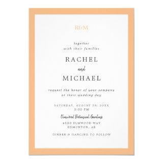 Peach Elegant Monogram Script Lettering Simple Invitations