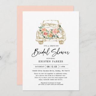 Peach Floral Drive By Bridal Shower Invitations