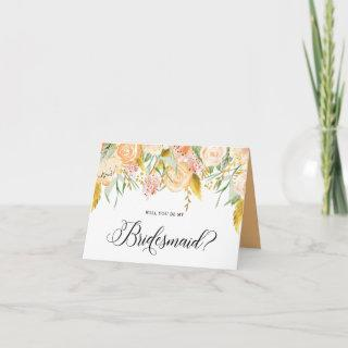 Peach Flowers Gold Foil Will You Be My Bridesmaid Invitation
