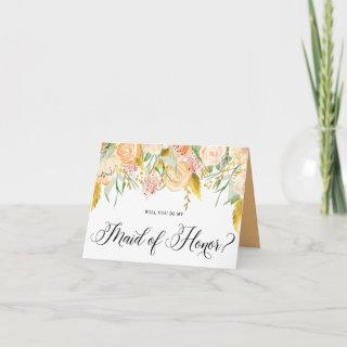 Peach Flowers Gold Will You Be My Maid of Honor Invitations