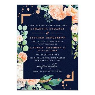 Peach Navy Copper Floral Watercolor Photo Wedding Invitations