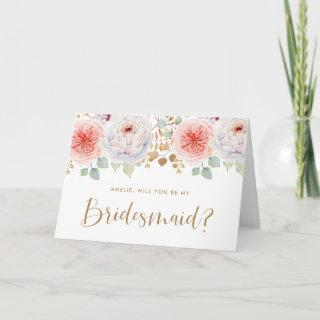 Peach Peony Gold Leaves Will You Be My Bridesmaid Invitations
