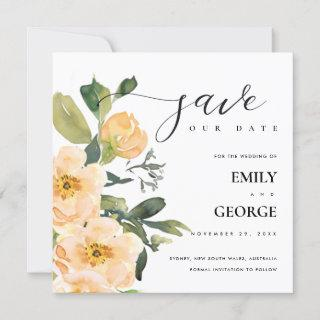 PEACH PEONY WATERCOLOR FLORAL SAVE THE DATE CARD
