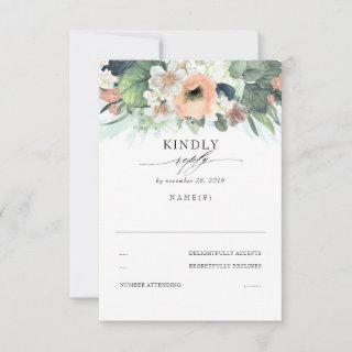 Peach Pink and White Floral Wedding RSVP