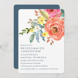 Peach  Pink Peonies Bridesmaids Luncheon Wedding Invitation