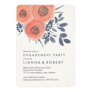 Peach Poppies Engagement Party Invitations