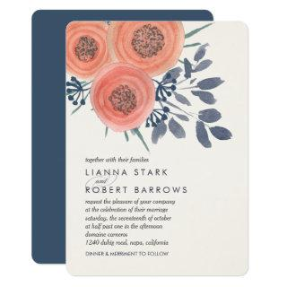 Peach Poppies Modern Floral Wedding Invitation