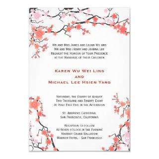 Peach Red & Pink Cherry Blossoms Oriental Wedding Invitations