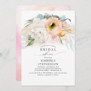 Peach White and Pink Floral Bohemian Bridal Shower