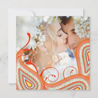 Peach Yellow Coral Mint Photo Modern Save the Date