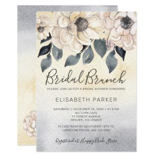 Peachy watercolor dahlias bridal brunch shower invitation