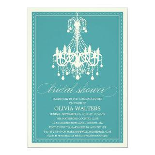 PEACOCK BLUE CHANDELIER | BRIDAL SHOWER Invitations