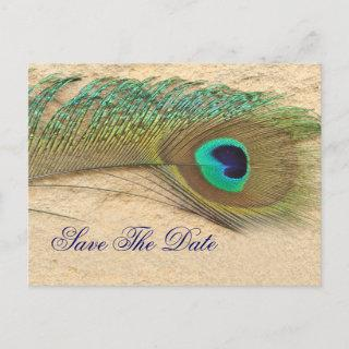 peacock blue  Save the Date Announcement Postcard