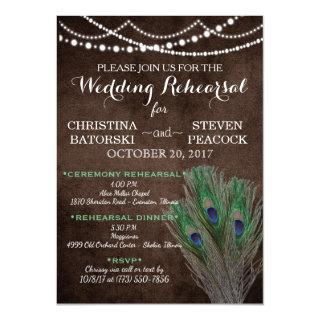 Peacock Boho Country Wood Rustic Wedding Invitations