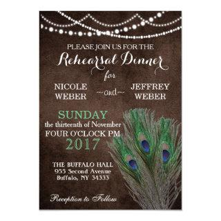 Peacock Boho Country Wood Rustic Wedding Invitation