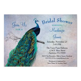 Peacock Bridal Shower Invitation Vintage Blue Bird