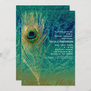 Peacock Feather Blue Teal Gold Exotic Invitations